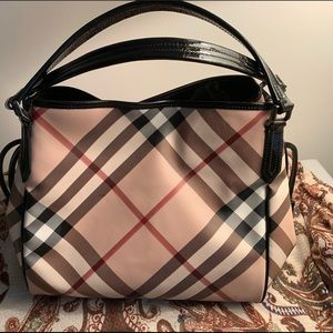 Burberry Satchel with Patent Handles